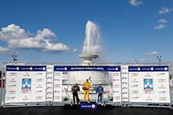 Hunter-Reay Cools Off in Scott Fountain After Winning Dual II