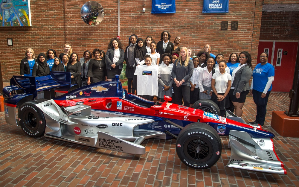 Young Women Surprised with Trip to Comerica Bank Free Prix Day at Detroit Grand Prix