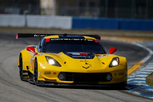 Corvette Racing taking laps during practice for the 12 Hours of Sebring